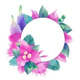 柔和的淡色彩上色了与异乎寻常的叶子和花的设计 免版税库存图片