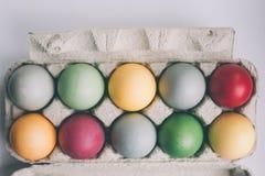 柔和的淡色彩色的复活节彩蛋 免版税图库摄影