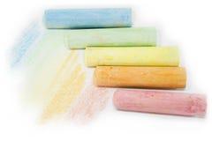 柔和的淡色彩色的白垩棍子 库存照片