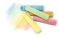 柔和的淡色彩色的白垩棍子 免版税库存照片
