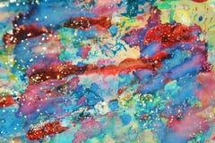 柔和的淡色彩闪耀的红色绿色黄色蓝色磷光性蜡状的斑点,水彩油漆,五颜六色的颜色 库存图片
