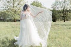 柔和的空气婚礼礼服面纱的美丽的甜女孩新娘在阳光的光芒的一个开花的春天庭院里在日落的 免版税库存图片