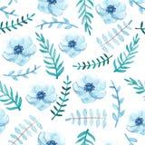 柔和的蓝色花和叶子无缝的样式 免版税库存图片