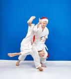 柔道摔训练两位运动员 图库摄影