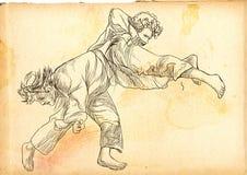 柔道-一个大型手拉的例证 免版税库存图片
