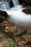 柔滑的缎软的瀑布在有岩石的深森林里在长的曝光 库存照片