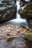柔滑的缎软的瀑布在有岩石的深森林里在长的曝光 免版税库存图片