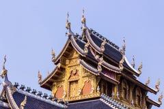 柚木树教堂在Wat Banden, Chiangmai泰国 图库摄影