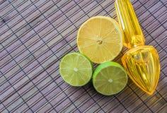 柠檬、石灰和塑料榨汁器 图库摄影