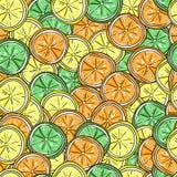 柠檬、石灰和橙色传染媒介无缝的样式 免版税库存图片