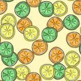柠檬、石灰和橙色传染媒介无缝的样式 免版税库存照片