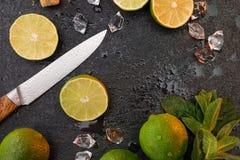 柠檬与薄荷叶的石灰在石委员会的切片和刀子 图库摄影
