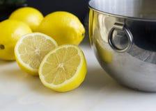 柠檬做所有盘欢欣 免版税图库摄影