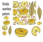 柠檬冰手拉的样式的无缝的样式 免版税库存图片