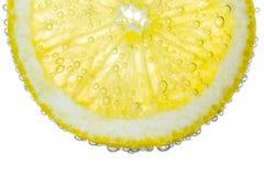 柠檬切片在清楚的泡沫腾涌的水泡影背景中 免版税图库摄影