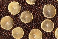 柠檬切说谎在一张木桌上的咖啡豆中 免版税库存照片