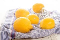 柠檬和柠檬剥削者在洗碗布 免版税库存照片