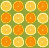 柠檬和桔子切了样式,无缝的背景 免版税图库摄影