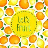 从柠檬和桔子的无缝的样式。 免版税库存图片