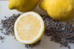 柠檬和淡紫色静物画 免版税图库摄影