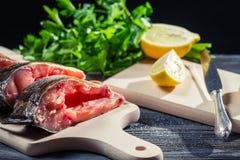 柠檬和盐作为鲜鱼主要香料  库存照片