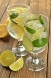 柠檬和石灰在一块玻璃用水在棕色背景 库存图片