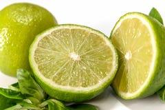116/5000柠檬和石灰在白色背景 免版税库存图片
