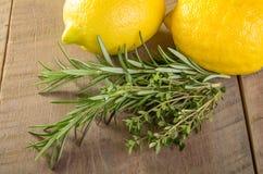 柠檬和草本在一张木桌上 免版税库存图片