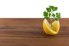 柠檬和荷兰芹装饰 免版税图库摄影