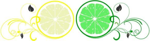 柠檬商标和石灰美容院 库存例证
