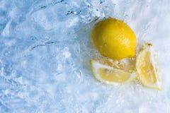 柠檬在凉快的刷新的水中 库存照片