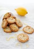 柠檬在纸袋的罂粟种子曲奇饼 免版税库存图片