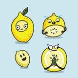 柠檬字符动画片集合 逗人喜爱的传染媒介例证 向量例证