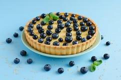柠檬果子馅饼装饰用蓝莓和薄菏 免版税库存图片