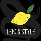 柠檬样式传染媒介例证简单派黄色黑板 免版税库存照片