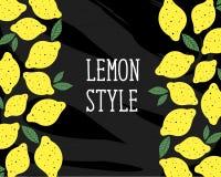 柠檬样式传染媒介例证简单派黄色黑板 免版税库存图片