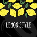 柠檬样式传染媒介例证简单派黄色黑板 库存照片