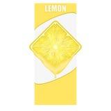 柠檬正方形切片垂直的横幅  空间为 库存图片