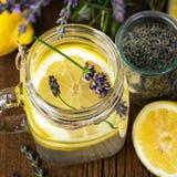 柠檬水用柠檬和淡紫色 库存图片