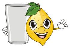柠檬的面孔与玻璃的 向量例证