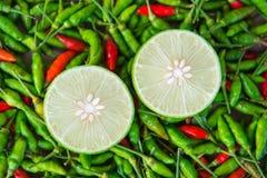 柠檬石灰切片被投入在许多顶部辣椒粉 免版税库存照片