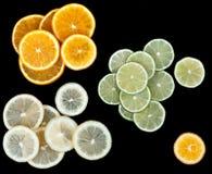 柠檬石灰桔子片式 免版税图库摄影
