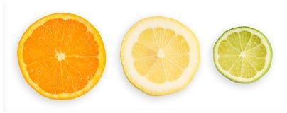 柠檬石灰桔子片式 免版税库存照片
