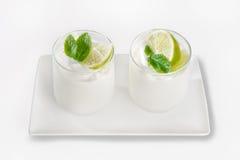 柠檬自然酸奶 免版税库存图片
