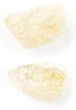 柠檬色透明水晶在白色背景的 免版税图库摄影