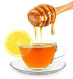 柠檬茶用蜂蜜 免版税库存图片
