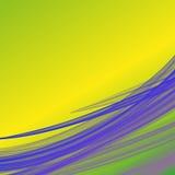 柠檬绿和黄色与lilla紫罗兰色波浪纤维线的梯度背景喜欢熏制的样式 免版税库存图片