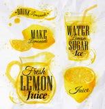 柠檬水水彩 免版税库存照片