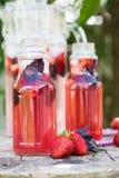 柠檬水戒毒所草莓蓬蒿 与新鲜的str的刷新的饮料 免版税库存照片