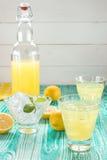 柠檬水或limoncello在轭停止者瓶 库存照片